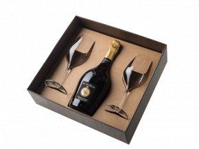 Dárkový box na láhev se dvěma skleničkami a uzávěrem La Tordera