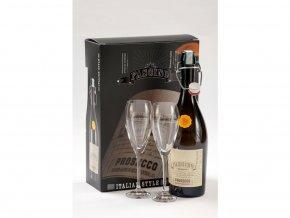 Prosecco Frizzante DOC Bio Fascino + 2 sklenice, Gift Box, 0,75l