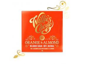 Willie's Cacao100% čokoláda bez přidaného cukru s pomerančem a mandlemi, 50g