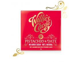 Willie's Cacao100% čokoláda bez přidaného cukru s pistáciemi a datlemi, 50g