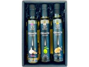 Triáda olivových olejů s příchutí: česnek, natural, bílý lanýž 3x250ml