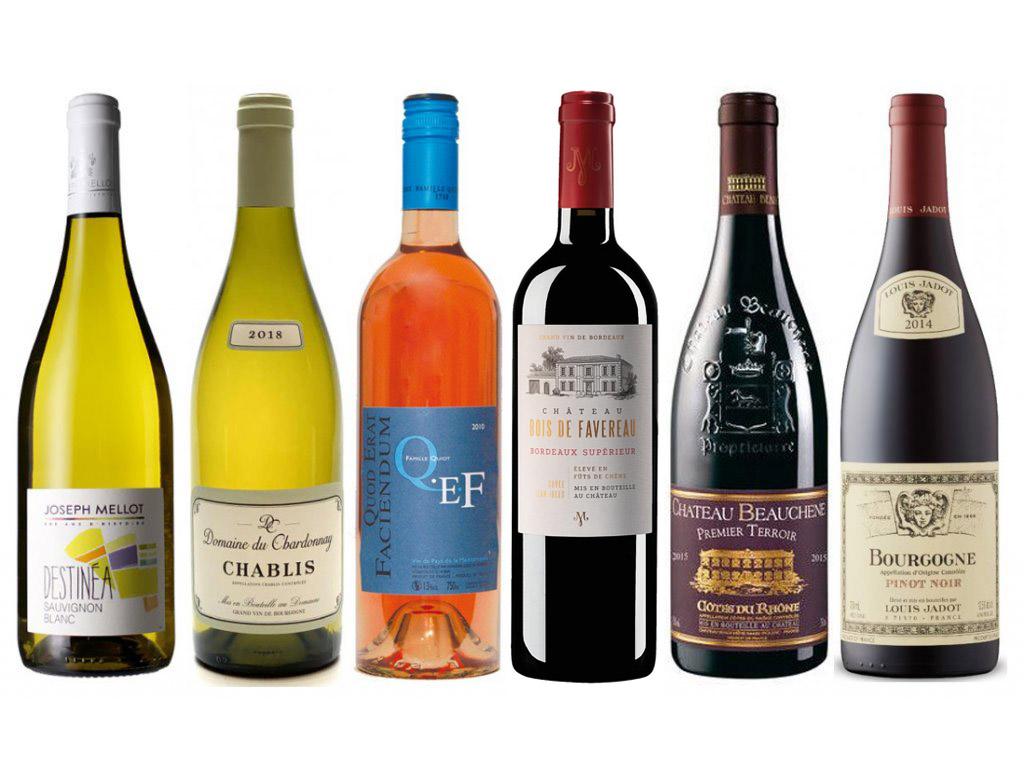 Sada 6 vín - Bestsellery Francie v dřevěné krabici, 6x0,75l