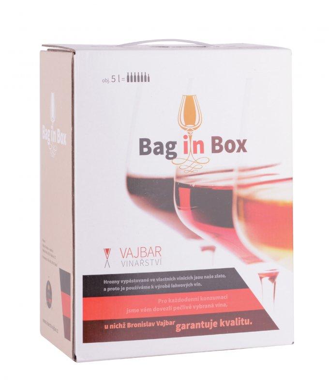Vinařství Vajbar Merlot rosé, bag in box, polosladké, Vajbar, 5l