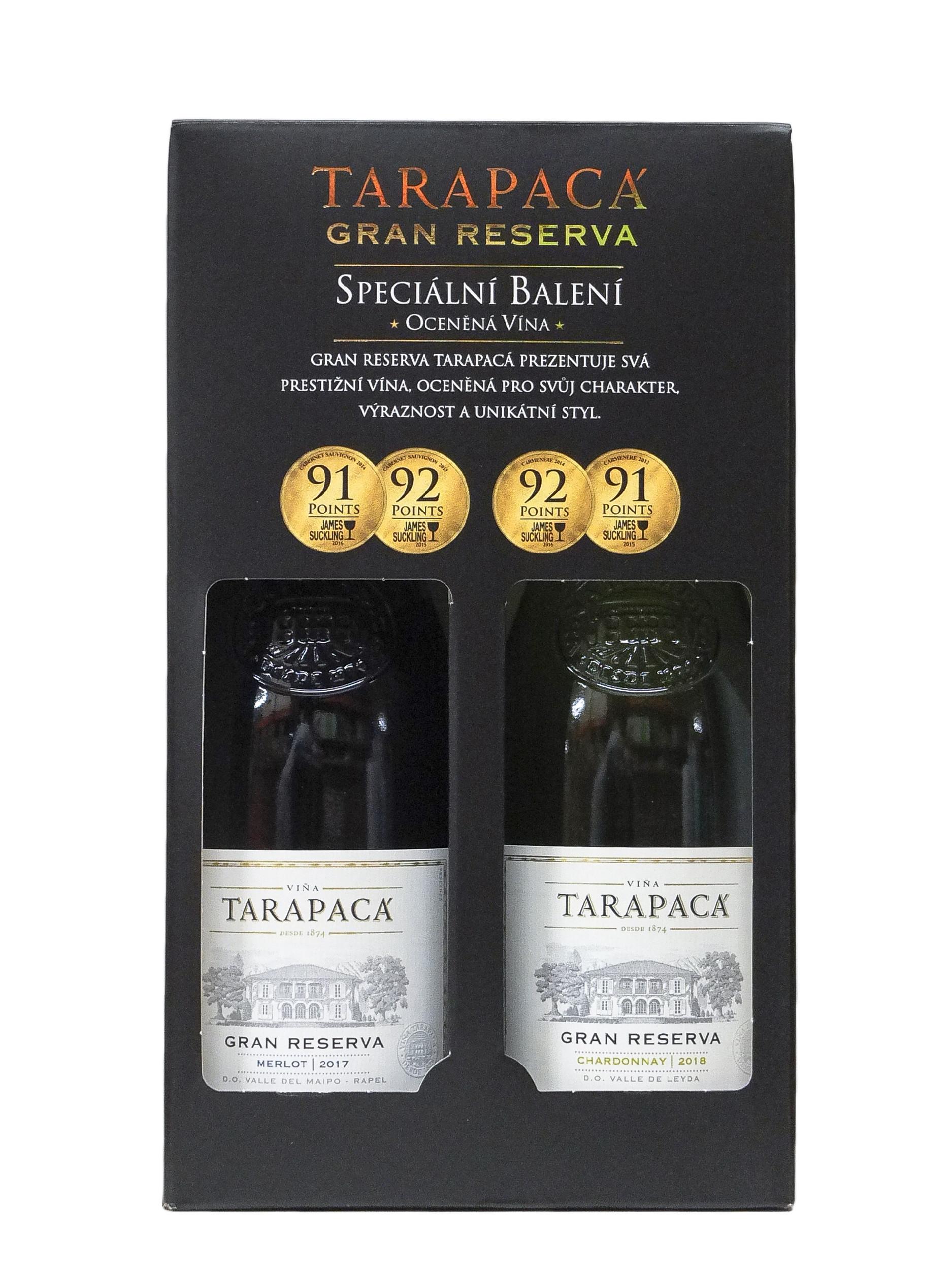 Vinařství Viňa Tarapacá Tarapacá, Merlot, Chardonnay, Gran Reserva, 2x0,75l