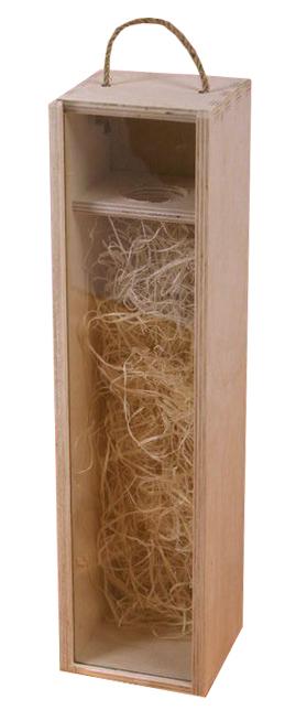 Dřevěná kazeta na víno s průhledným víkem
