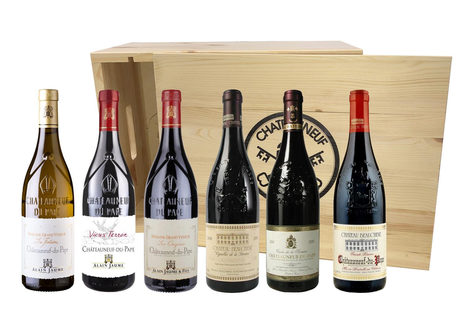 Châteauneuf du Pape - sada 6 vín v dřevěné krabici s logem CHNDP, 6x0,75l