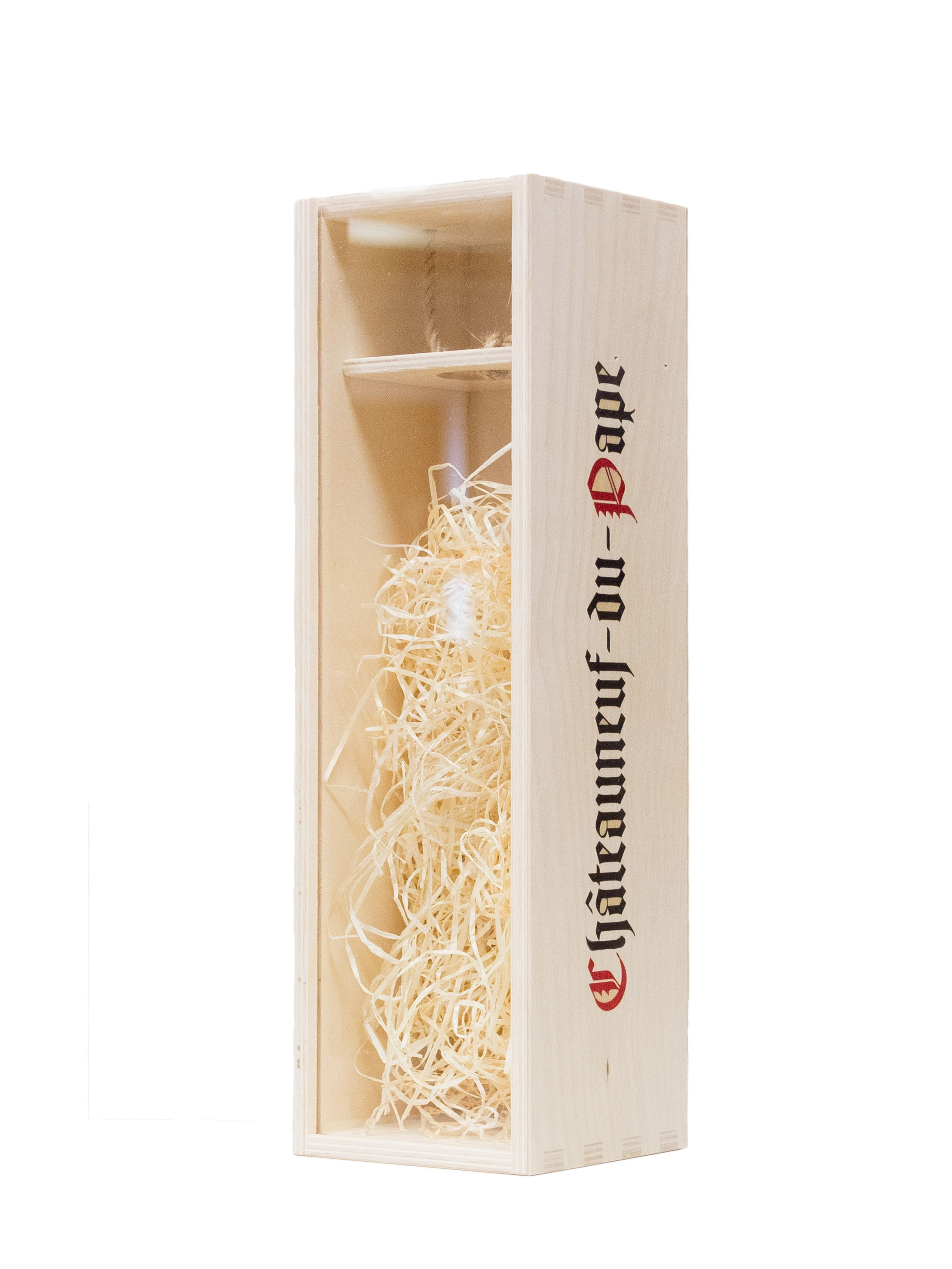 Dřevěná kazeta na víno s průhledným víkem - Châteauneuf-du-Pape