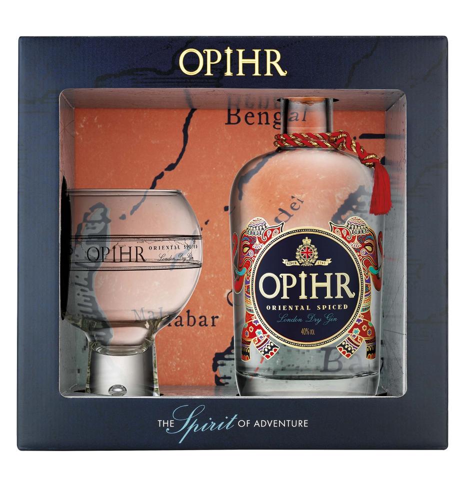 Opihr Spiced Gin + sklenice Globe v dárkovém balení, 42,5%, 0,7l