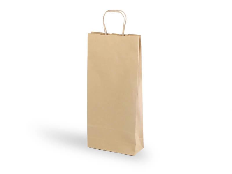 Papírová taška na 2 lahve, hnědá