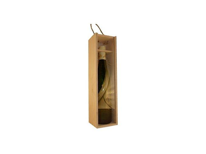 Dřevěný box na 1 láhev - průhledný