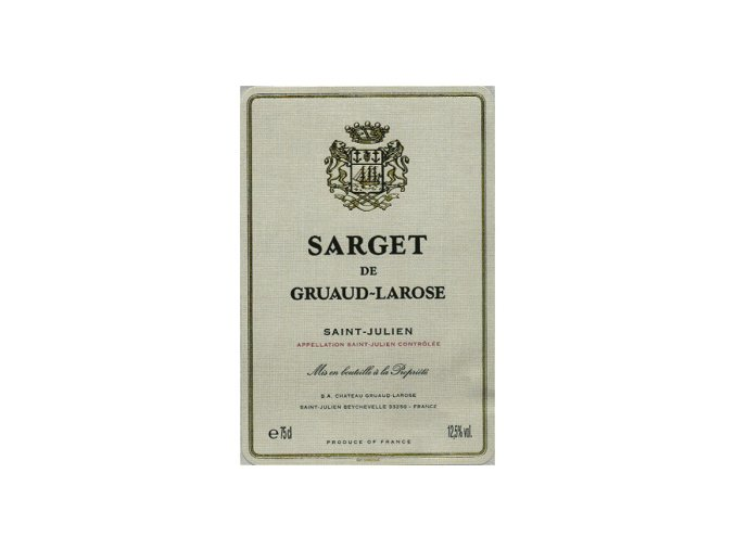 Sarget de Gruaud Larose 2015  Chateau Gruaud Larose