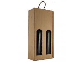 Dřevěný box na 2 láhve - oblouk (pro užší láhve typu Bordeaux)