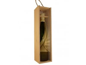 Dřevěný box na 1 láhev - průhledný (pro užší láhve typu Bordeaux)