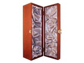Dřevěný box na 1 láhev - stříbrný satén