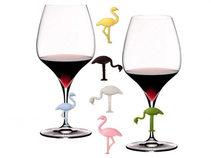 plameňáci rozlišovač sklenic na víno
