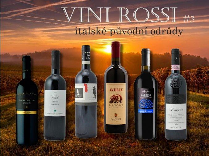 degustační bedýnka Vini Rossi původní odrůdy červeného vína z Itálie v2