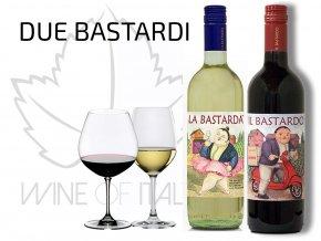 due bastardi - La Bastarda a Il Bastardo v dárkové krabici. Nevšední dárek kombinuje vynikající Toskánská vína se zajímavou etiketou