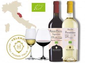 dvě BIO vína Velenosi Ascoli Piceno