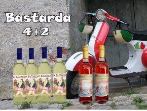 bastarda 4+2 bílé a růžové víno z Itálie