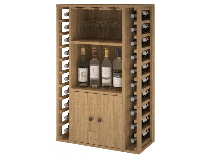 Regál na víno CORULLÓN (Materiál a odstín Borovice s odstínem světlý dub)