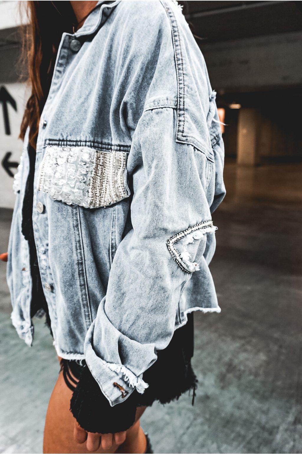 Džínová bunda sequin blue