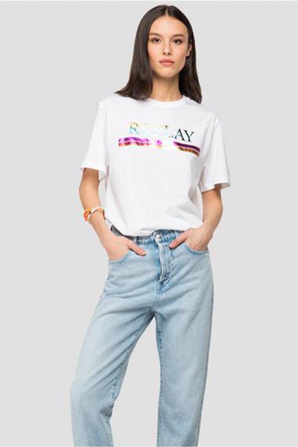 Dámské tričko Replay s nápisem - reflective white