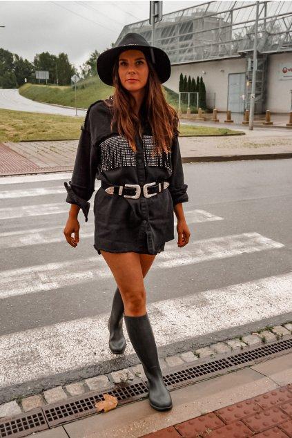 Džínová bunda s třásněmi - black