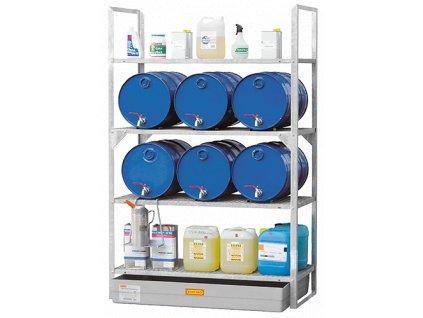 Regály na sudy s olejem o objemu 60 l