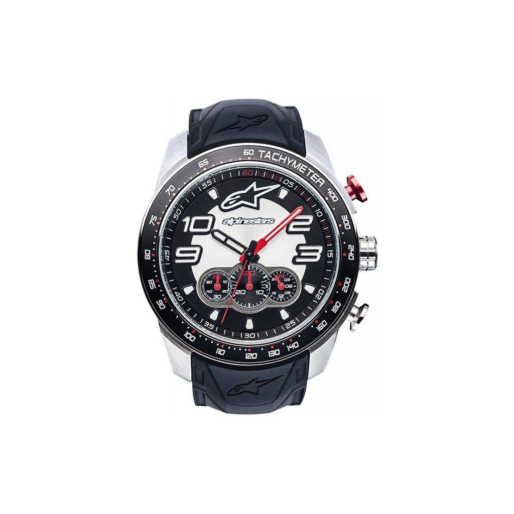 hodinky TECH CHRONO STEEL, ALPINESTARS - ITÁLIE (broušený nerez/černá/červená, pryžový pásek)