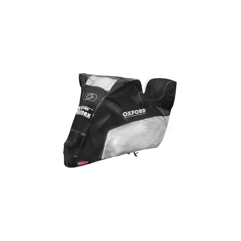 plachta na motorku Rainex model s prostorem na kufr, OXFORD (černá/stříbrná)