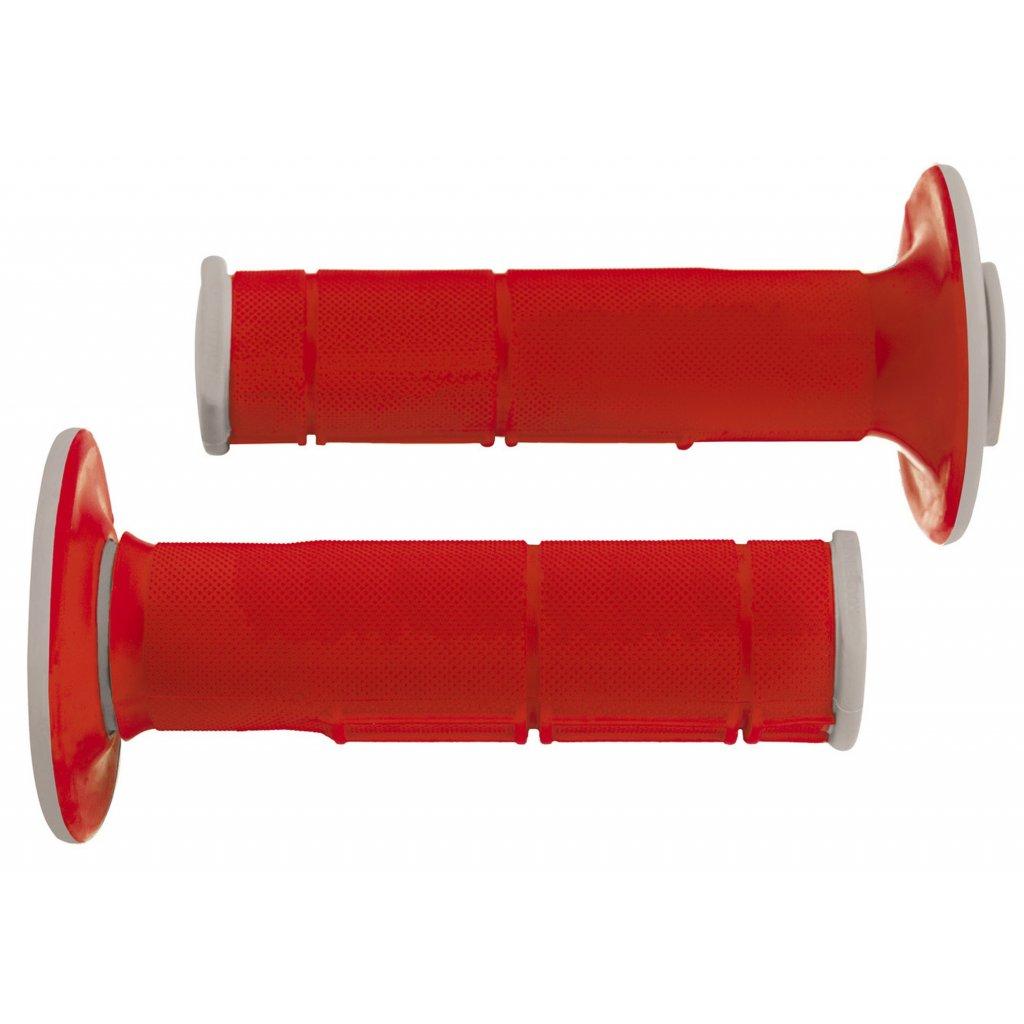 gripy Racing (dvouvrstvé, měkké), RTECH (červeno-šedé, pár, délka 116 mm)