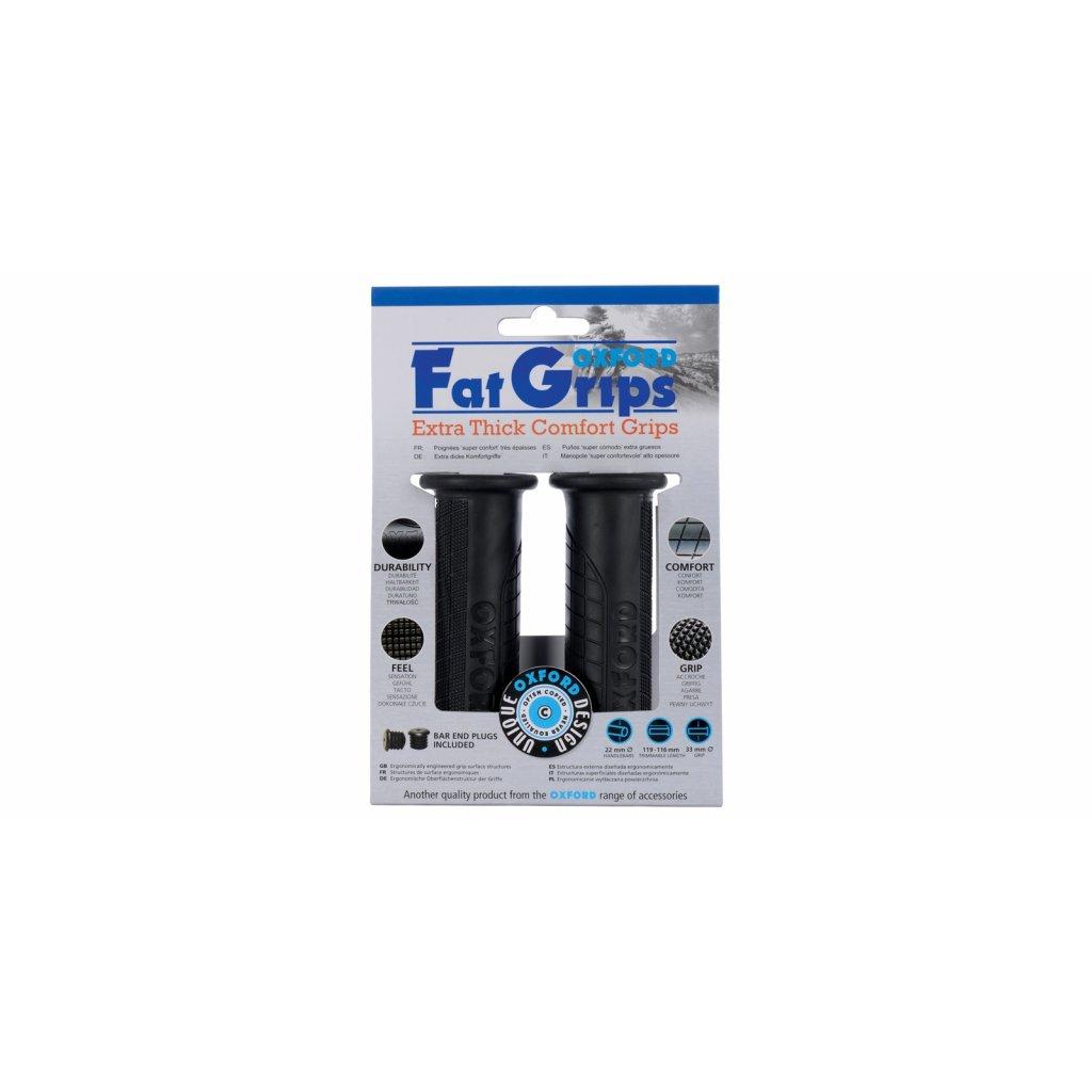 gripy Fat grips s větší vnějším průměrem, OXFORD - Anglie (černá pryž, tvrdost pryže medium, na řidítka o průměru 22 mm, pár)