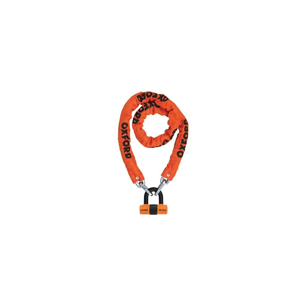 řetězový zámek na motocykl Heavy Duty, OXFORD (oranžový plášť, délka 1,5 m)