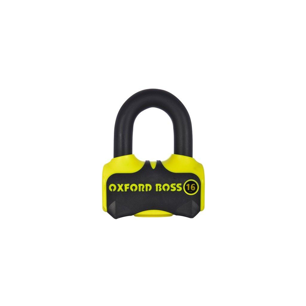 zámek kotoučové brzdy Boss 16, OXFORD - Anglie (žlutý/černý, průměr čepu 16 mm)