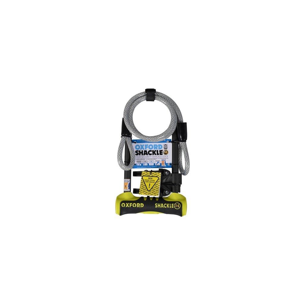 zámek U profil Shackle 14 DUO, OXFORD - Anglie (žlutý/černý, 320x177 mm, průměr čepu 14 mm)