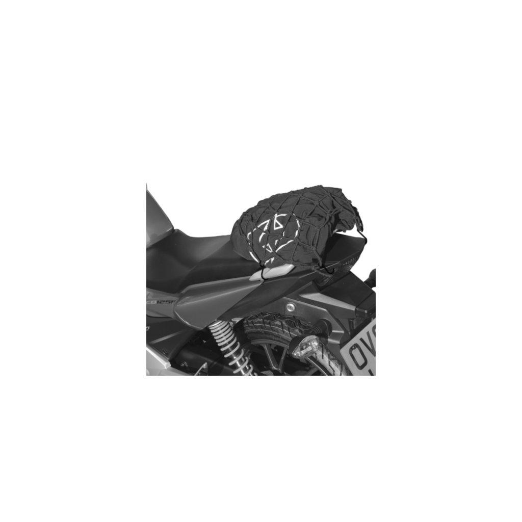 pružná zavazadlová síť pro motocykly, OXFORD - Anglie (27 x 25 cm, černá/reflexní)