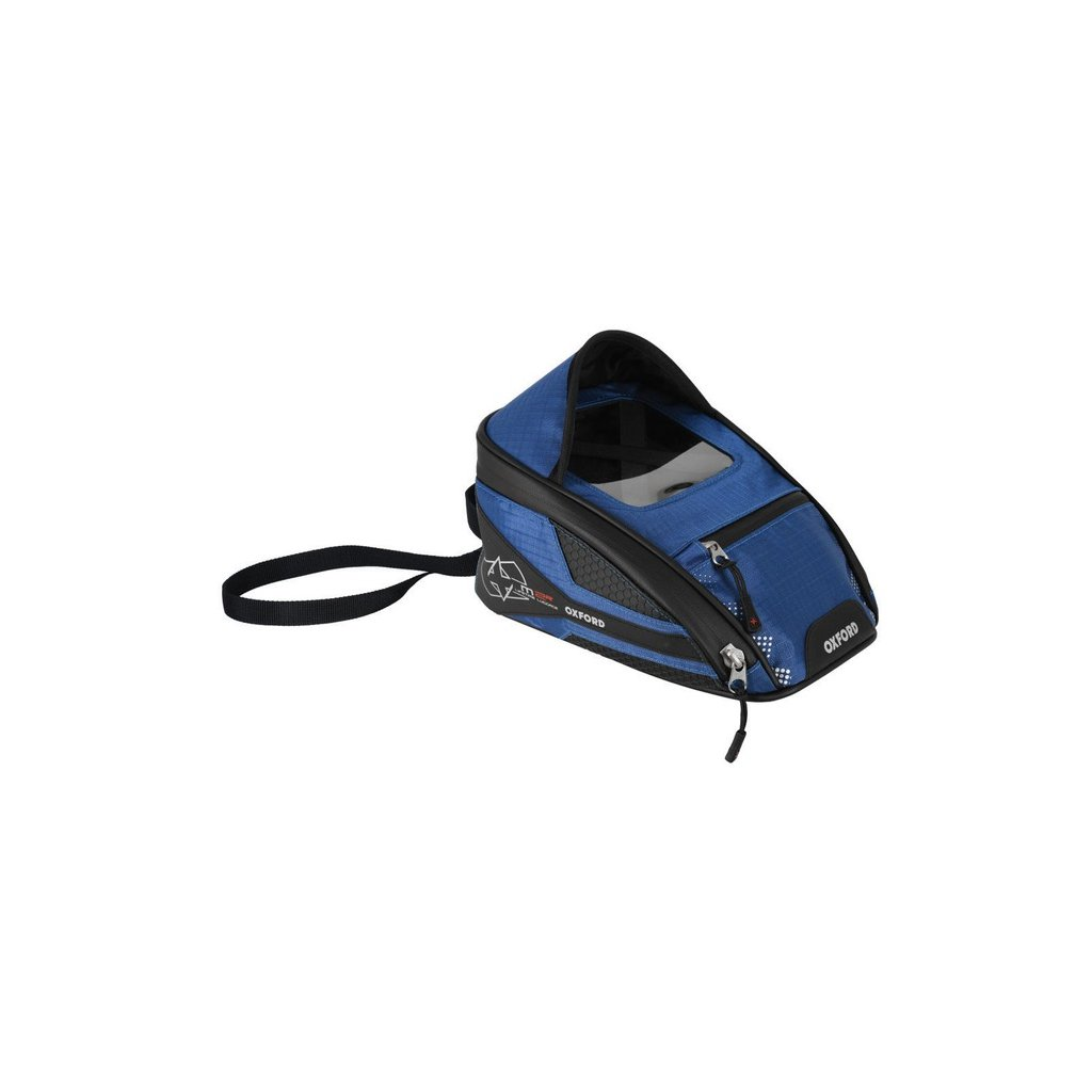 tankbag na motocykl M2R, OXFORD - Anglie (černý/modrý, s magnetickou základnou, objem 2 l)