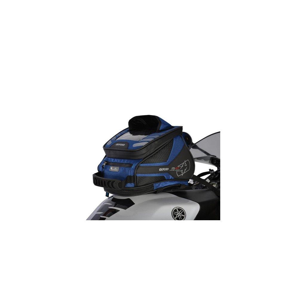 tankbag a brašna na sedlo M4R Tank 'n' Tailer, OXFORD - Anglie (černý/modrý, s magnetickou základnou a popruhy, objem 4 l)
