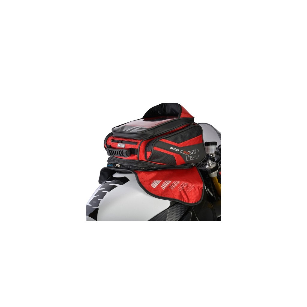 tankbag na motocykl M30R, OXFORD - Anglie (černý/červený, s magnetickou základnou, objem 30 l)