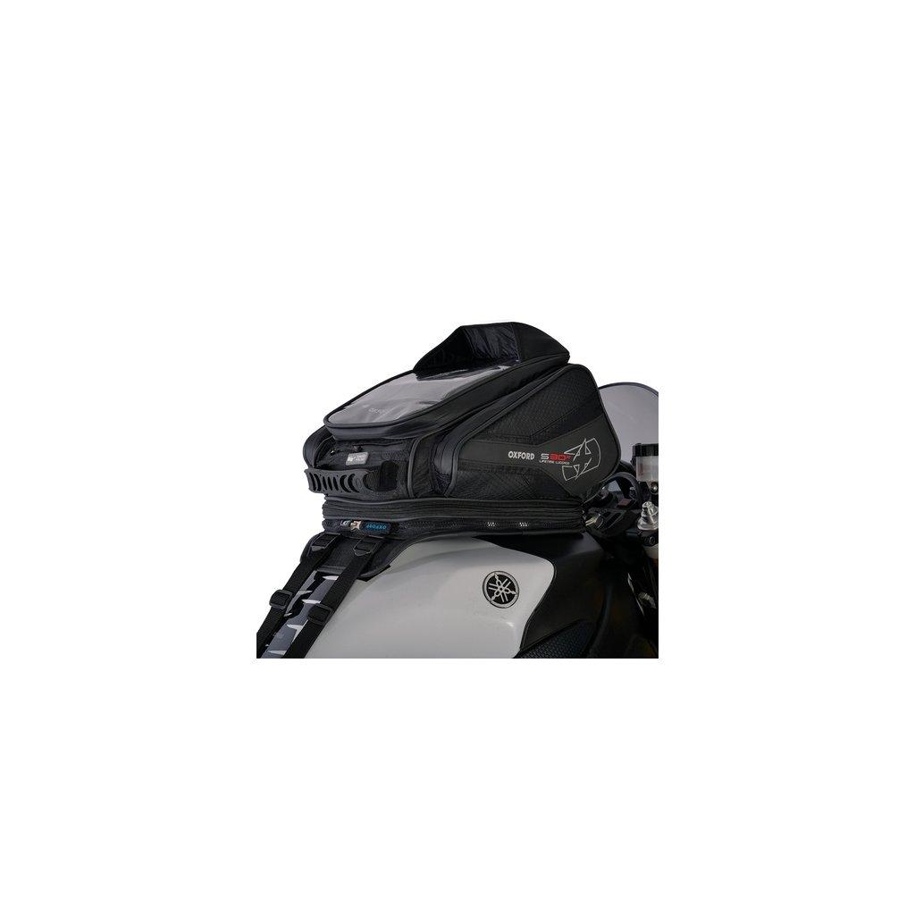 tankbag na motocykl S30R, OXFORD - Anglie (černý, s popruhy, objem 30 l)