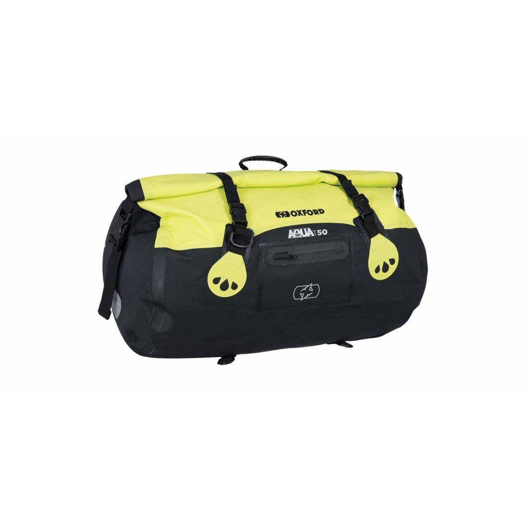 vodotěsný vak Aqua T-50 Roll Bag, OXFORD (černý/žlutý fluo, objem 50 l)