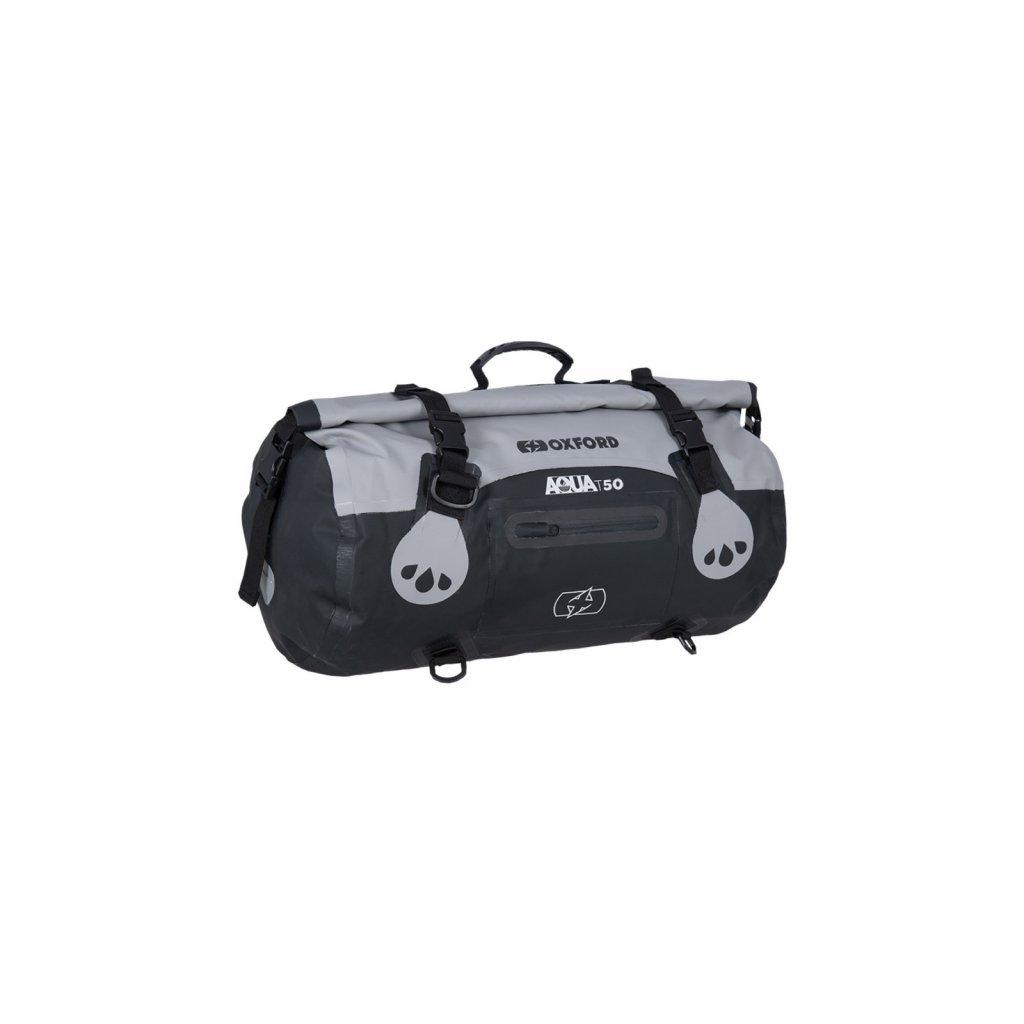 vodotěsný vak Aqua T-50 Roll Bag, OXFORD (šedý/černý, objem 50 l)