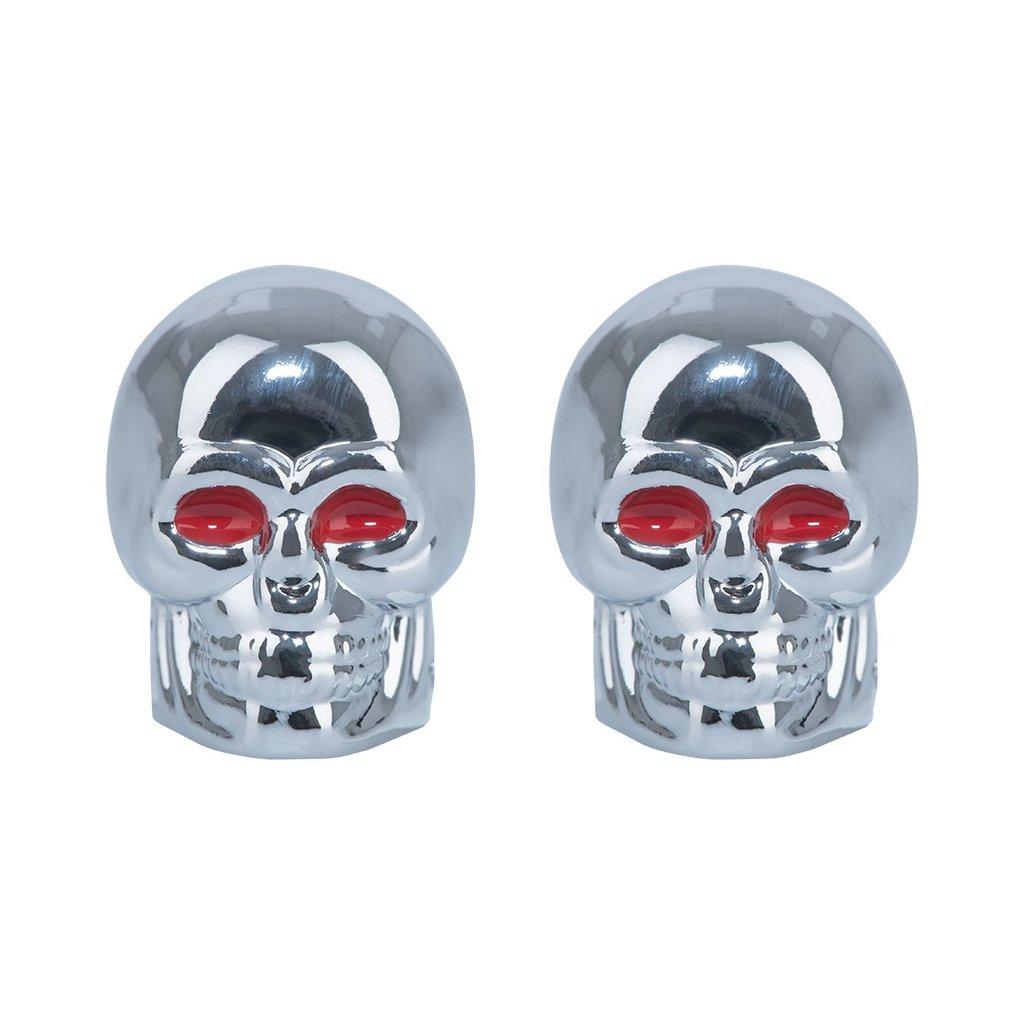 kovové čepičky ventilků Skull, OXFORD - Anglie (stříbrná, pár)