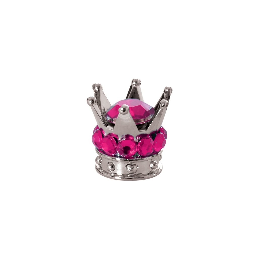 kovové čepičky ventilků Crown, OXFORD - Anglie (stříbrná/růžová, pár)