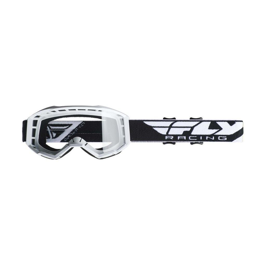 brýle FOCUS 2019, FLY RACING - USA (bílé, čiré plexi bez pinů)