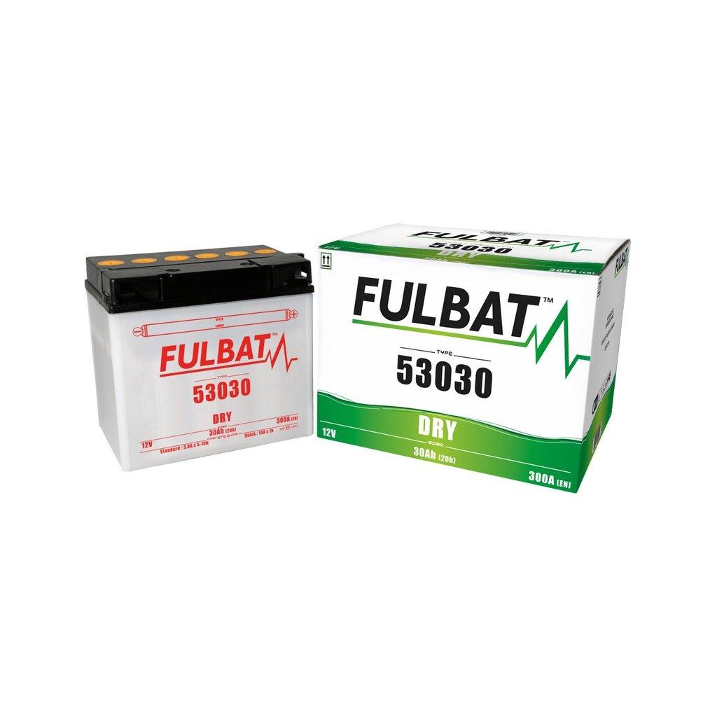 baterie 12V, 53030, 30Ah, 300A, pravá, konvenční 186x130x171, FULBAT (vč. balení elektrolytu)