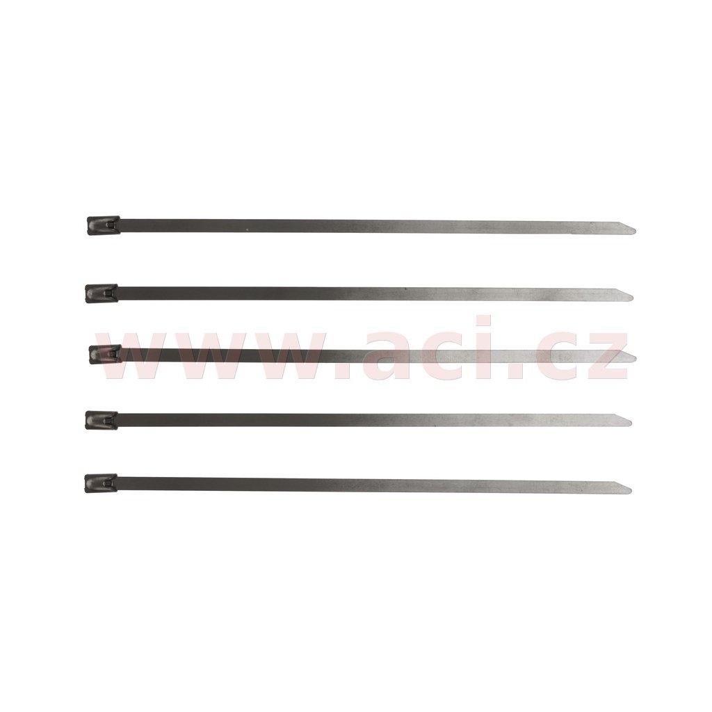 stahovací páska nerezová typ W4, 4,5x370 mm (sada 5 ks)