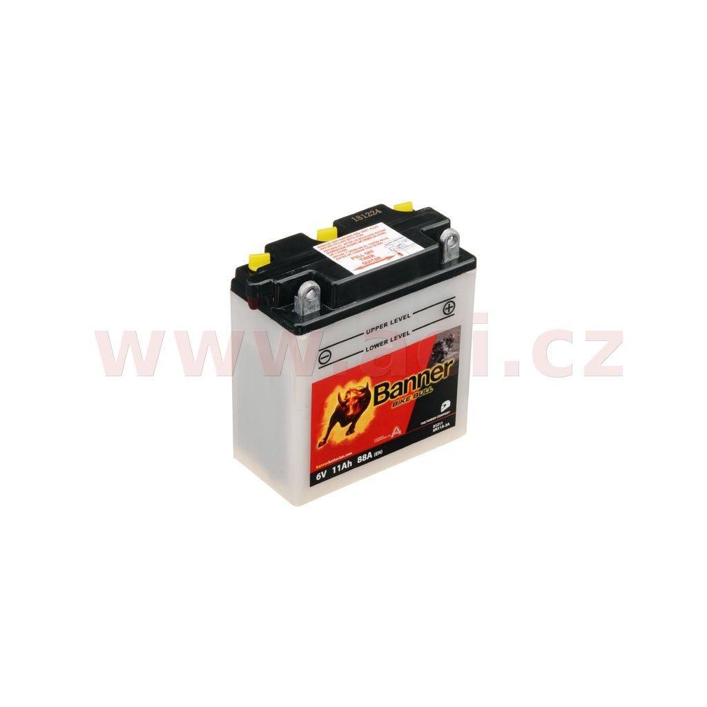 baterie 6V, 6N11A-3A, 11Ah, 88A, BANNER Bike Bull 122x62x132