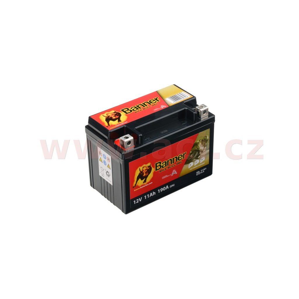 baterie gelová 12V, GTZ14-4, 11Ah, 190A, BANNER Bike Bull GEL 151x87x110