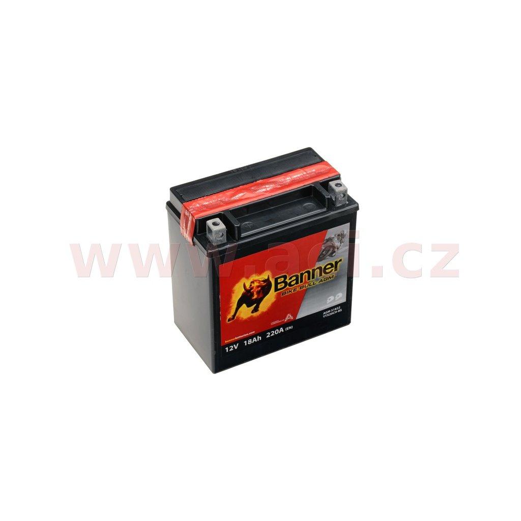 baterie 12V, YTX20CH-BS, 18Ah, 220A, BANNER Bike Bull AGM 150x87x161